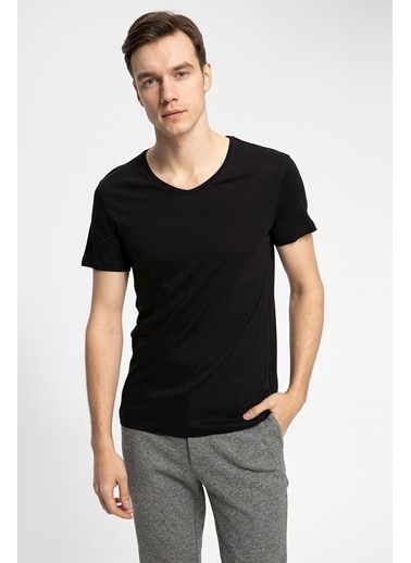 DeFacto V Yaka Slim Fit Basic T-shirt Siyah